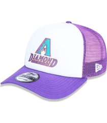 boné new era 940 a-frame trucker sn arizona diamondbacks branco/roxo
