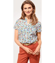 blouse mona wit::lichtblauw::multicolor