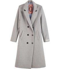 maison scotch tailored double breasted coat light grey melange