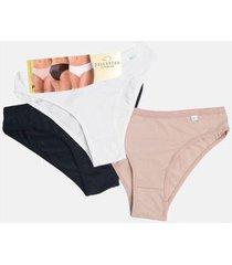 kit 3 calcinhas feminina biquíni delcotton - 10023151604