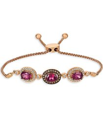 le vian women's 14k strawberry gold®, raspberry rhodolite®, vanilla & chocolate diamond® bolo bracelet