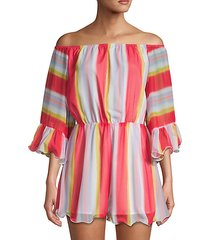 multi-striped off-the-shoulder romper