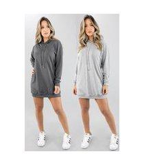 kit 2 vestido blusão vicbela manga longa camisão moletinho