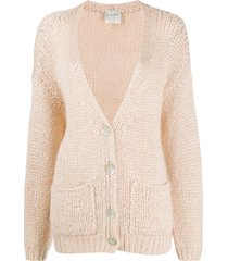 forte forte longline chunky knit cardigan - pink