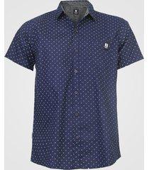 camisa fatal reta estampada azul-marinho