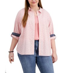 tommy hilfiger plus size gingham button-down top, created for macy's