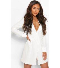 getailleerde blazer jurk met satijnen detail, white