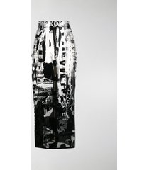 balmain all-over print fitted skirt