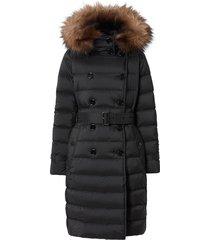 burberry detachable hood padded coat - black