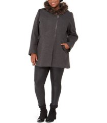 maralyn & me juniors' plus size asymmetrical-zip faux-fur-trim hooded coat