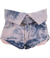 folding waistband shorts pink tie dye