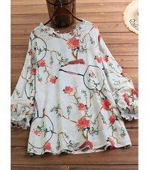camicetta taglia plus a maniche lunghe arricciate con stampa floreale vintage
