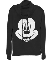 fifth sun juniors disney mickey classic big face mickey fleece cowl neck sweatshirt