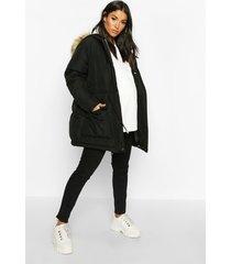 maternity tie waist padded jacket, black