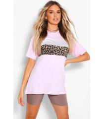 contrasterend colour block luipaardprint t-shirt, roze