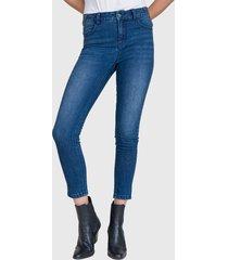 jeans ash  tiro medio skinny azul - calce ajustado