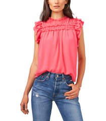 1.state ruffle blouse, size medium in coral haze at nordstrom