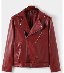 chaqueta de motociclista con cinturón causal de moda para hombre diseño chaqueta frontal con cremallera de cuero pu