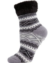 aztec fairisle plush women's cabin socks