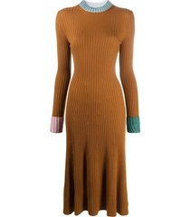 lanvin rib-knit jumper dress - brown
