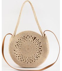 joanne straw round tote - natural