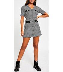 river island womens black short sleeve boucle pocket shirt dress