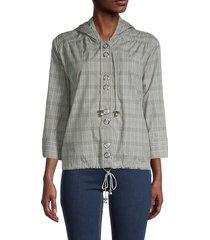 vertigo women's plaid cotton jacket - limestone - size l