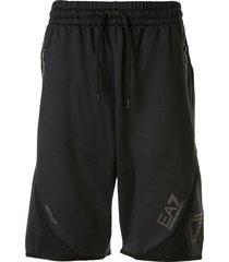 ea7 emporio armani logo jersey shorts - black