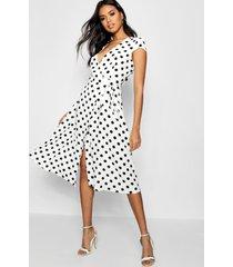 boutique polka dot wrap dress, white