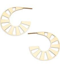 14k yellow gold cutout hoop earrings