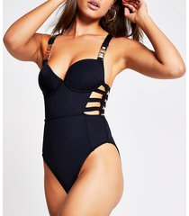 river island womens black plunge strappy cut out swimsuit