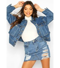 utility pocket oversized jean jacket, mid blue