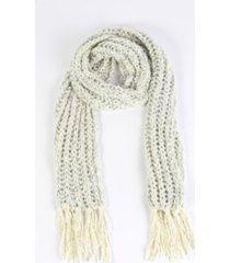 women's chunky knit fringe scarf