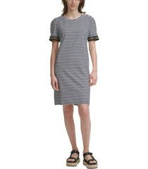 karl lagerfeld paris striped puff-sleeve sheath dress