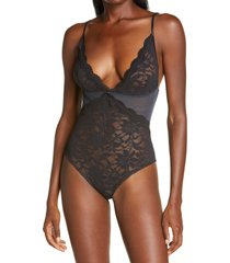 free people speed date lace bodysuit, size large in black at nordstrom