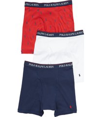 men's polo ralph lauren 3-pack assorted performance boxer briefs, size large - blue