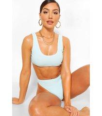 gekreukelde bikini top, muntgroen