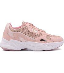 tenis zapatillas de moda para mujer rosa enrico coveri susan glitter