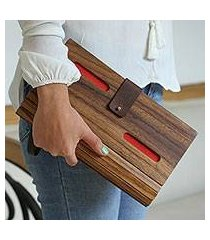 wood clutch, 'city savvy in red' (mexico)