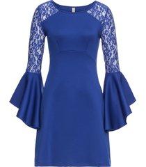 abito con volant e pizzo (blu) - bodyflirt boutique