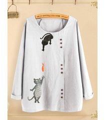 camicetta a maniche lunghe con stampa di gatti con bottoni per donna
