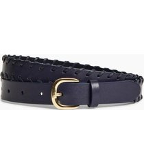 cinturon leather whip-stitched azul brooks brothers