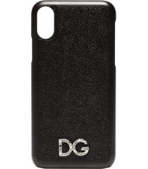 dolce & gabbana black textured leather iphone x case