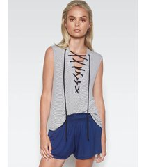 kylo lace up tank - m charcoal stripe caviar
