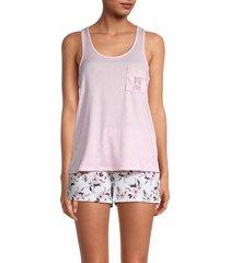 tahari women's 2-piece tank top & floral-print shorts set - pink - size l