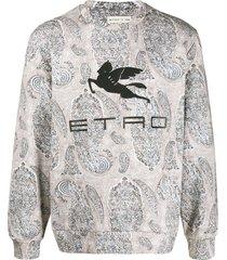 etro paisley-print sweatshirt - neutrals