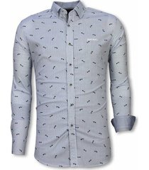 overhemd lange mouw tony backer blouse fishbone pattern licht