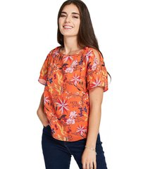 blusa floral lazos naranjo nicopoly