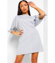 loshangende jurk met vleermuismouwen en strikjes, grey