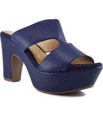 sandalia cuero azul tacón plataforma versilia julieta